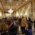 Wide view of the lobby where the guests have arrived.
