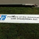 Banner used in the march. Reads ADA 25 Youth for the Americans with Disabilities Act