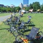 Special four wheeled bikes.
