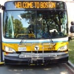 "An MBTA bus that says ""Welcome to Boston"""