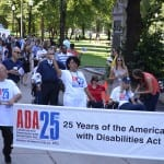 People protest for the disability act