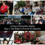 Images show various BCIL staff and allies in various acts of advocacy including protests, handcuffing, chanting and signholding.