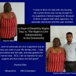 Two photos of a consumer in a red and white striped dress as they share their story with BCIL.
