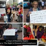 Four photos showing BCIL fighting for the Americans with Disabilities Act at their celebration.
