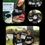 A collage of a family holding signs and wearing black ADA 30 t-shirts.