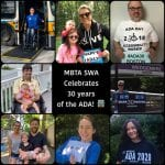 A collage of photos celebrating the ADA event over the years. The center square reads MBTA SWA Celebrates 30 years of the ADA! with white font and an emoji of a bus.