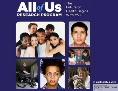 Photos of people from various races against a purple background. The words All of Us Research Program are in white font. The words The Future of Health Begins With You are to the right in white font.